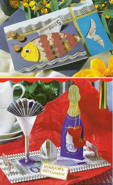 открытка для денег в виде рыбки, пузырьки воздуха - монетки