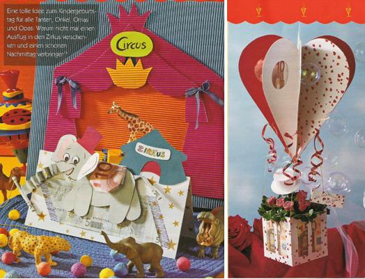 открытка для денег в слона и воздушного шара