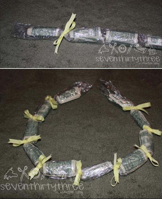 ожерелье из денег (из денежных купюр) в подарок на день рождения