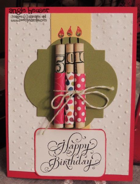 открытка на день Рождения с использованием денежных купюр