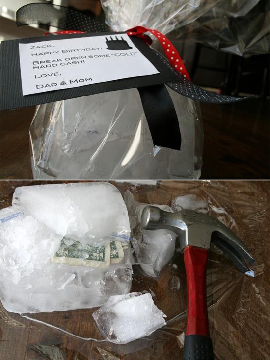 """""""холодные"""" деньги - купюры спрятаны в глыбу льда - отличный подарок"""