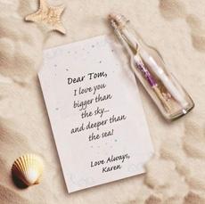 подарок к 14 февраля, на день валентина или на годовщину: послание в бутылке: мои чувства глуже чем море