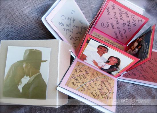 идея оформления подарка на 14 февраля, на день валентина - дарим коробочку, которая открывается и на ее стенках написаны пожелания и есть картинки или фотографии