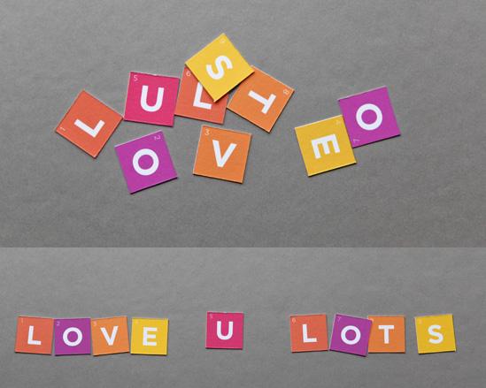 """идея оформления подарка на 14 февраля, на день валентина - дарим конверт с буквами, из которых складывается """"я тебя люблю"""""""